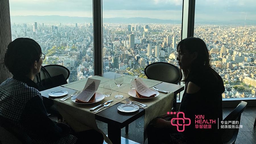 日本高端体检旅游用户体检结束后在晚餐