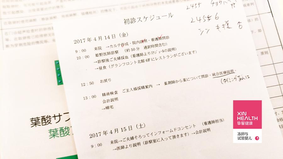 日本试管婴儿初诊单
