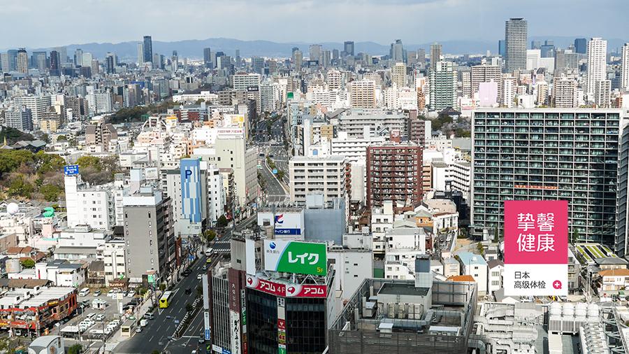 俯瞰日本大阪市景色