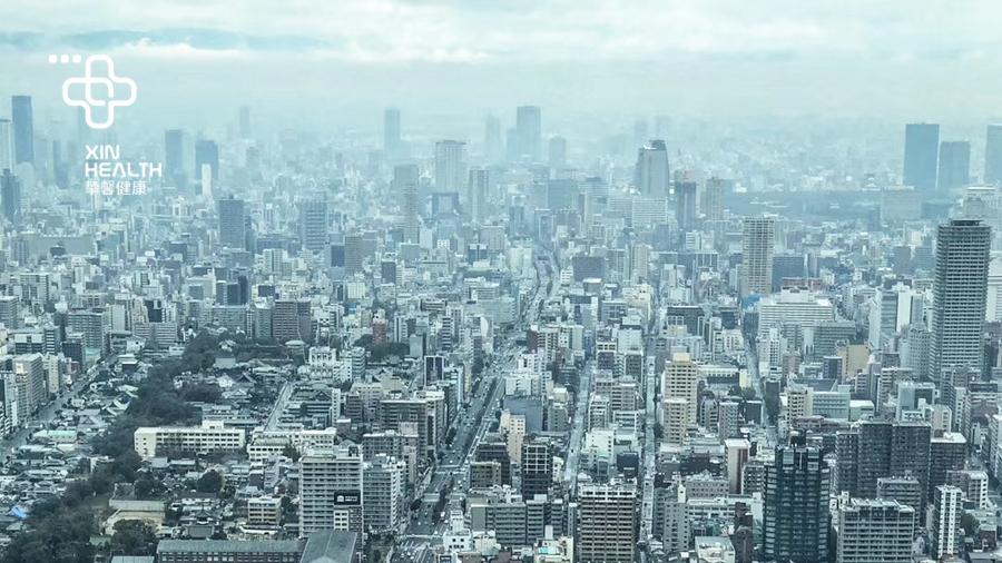 俯瞰繁华的日本大阪景色