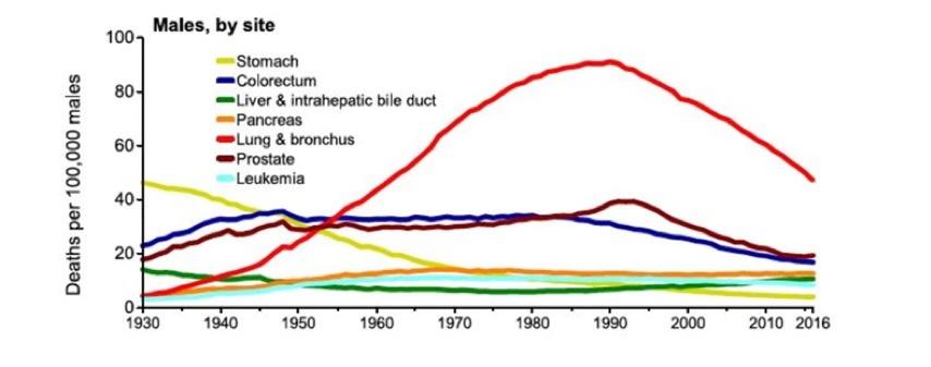 美国男性癌症病死率趋势图。
