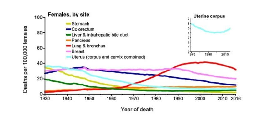 美国女性癌症病死率趋势图。